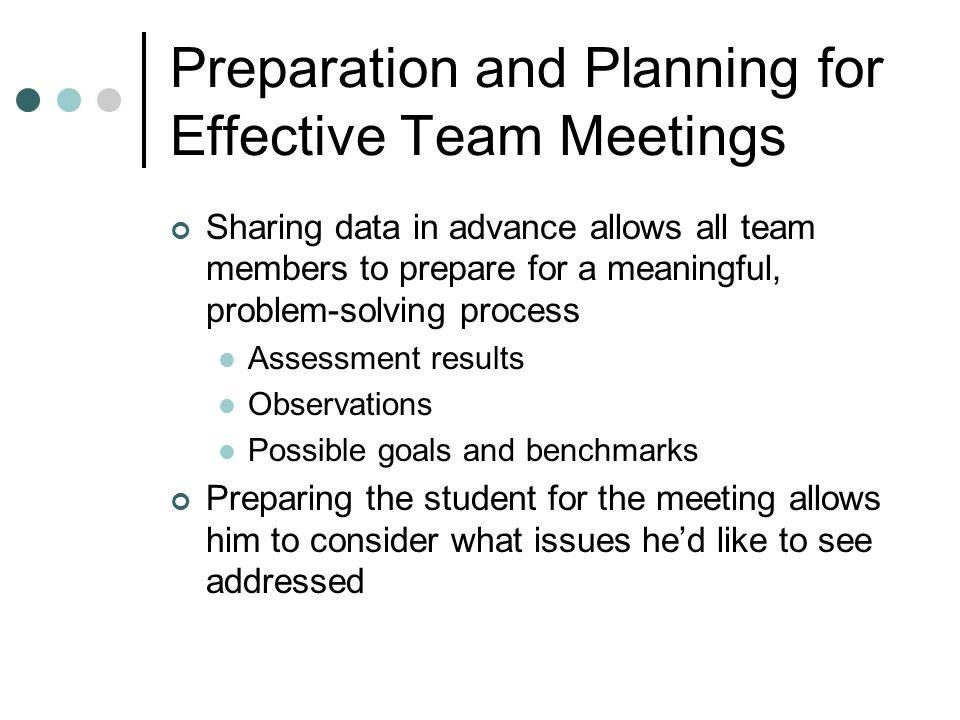 Preparation and Planning for Effective Team Meetings