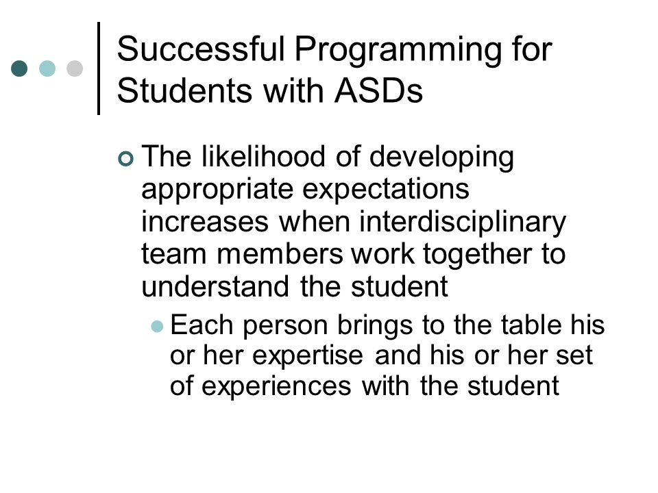 Successful Programming for Students with ASDs