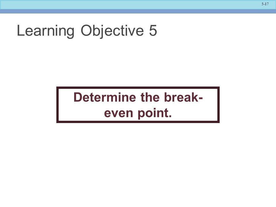 Determine the break-even point.