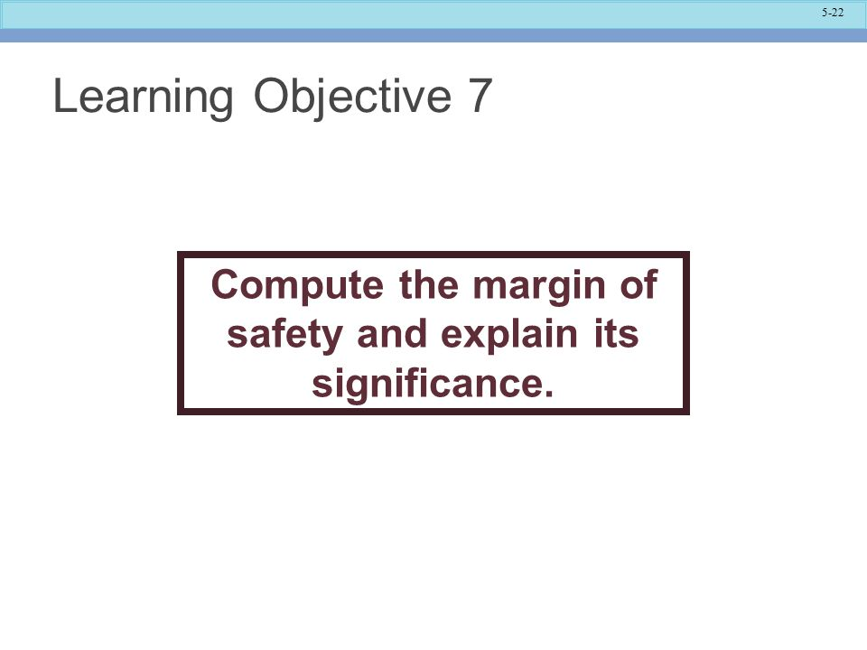 Compute the margin of safety and explain its significance.
