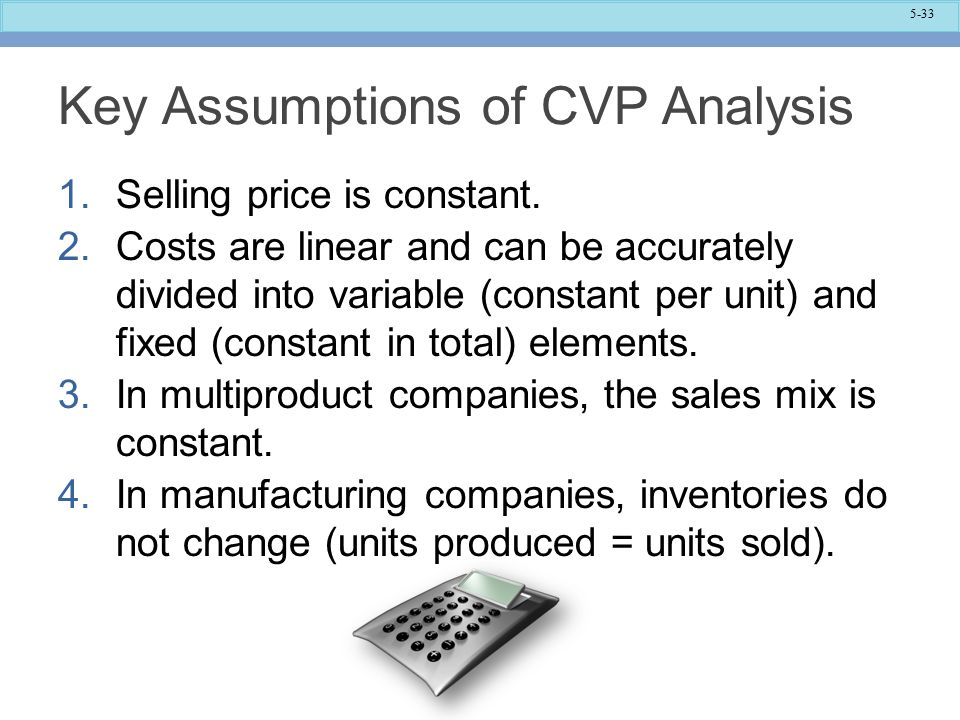 Key Assumptions of CVP Analysis