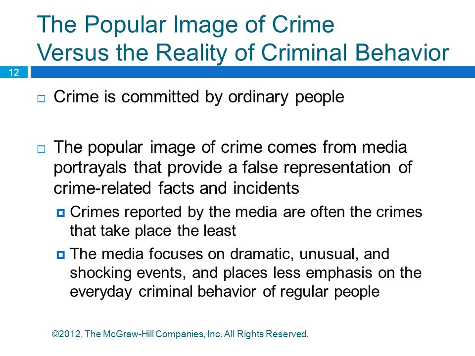 The Popular Image of Crime Versus the Reality of Criminal Behavior