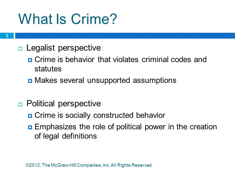What Is Crime Legalist perspective Political perspective