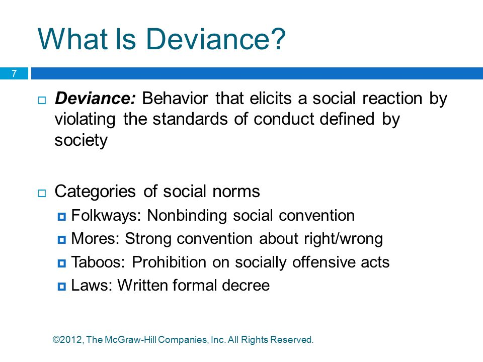 What Is Deviance Deviance: Behavior that elicits a social reaction by violating the standards of conduct defined by society.