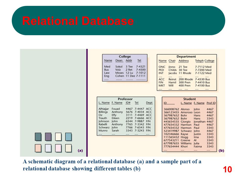 Relational Database A schematic diagram of a relational database (a) and a sample part of a relational database showing different tables (b)