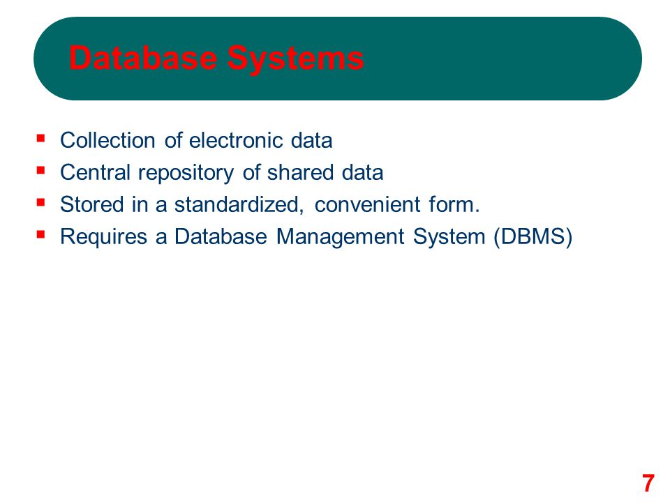 Database Systems Collection of electronic data