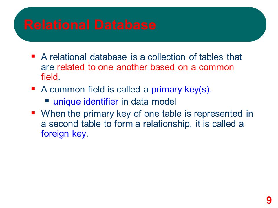 Relational Database A relational database is a collection of tables that are related to one another based on a common field.
