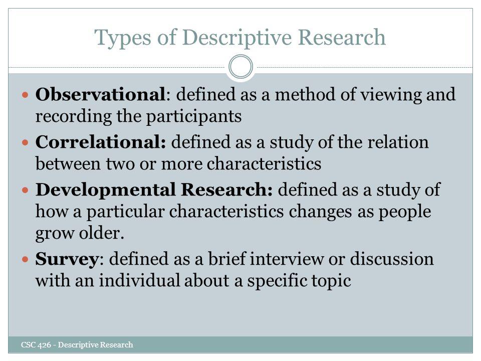 the descriptive method