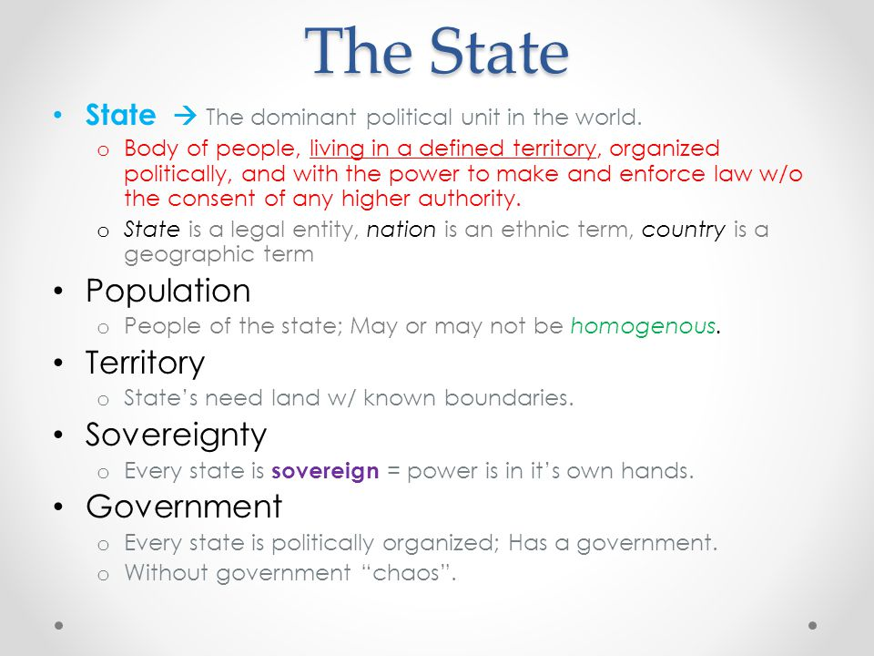 The State Population Territory Sovereignty Government