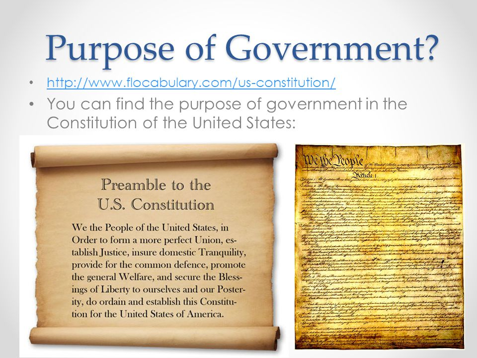 Purpose of Government.