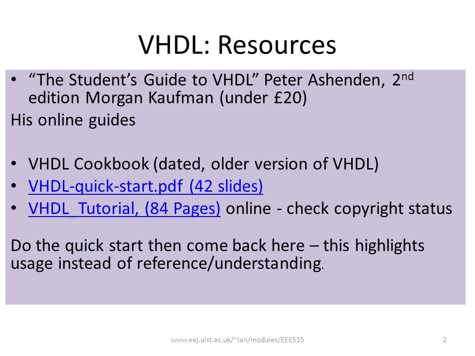 "EEE515 VHDL Notes from ""Digital System Design with VHDL"