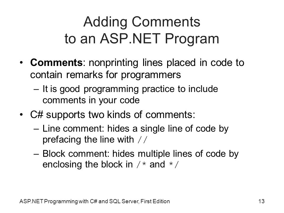 Adding Comments to an ASP.NET Program