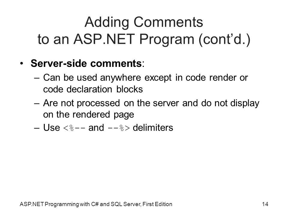 Adding Comments to an ASP.NET Program (cont'd.)
