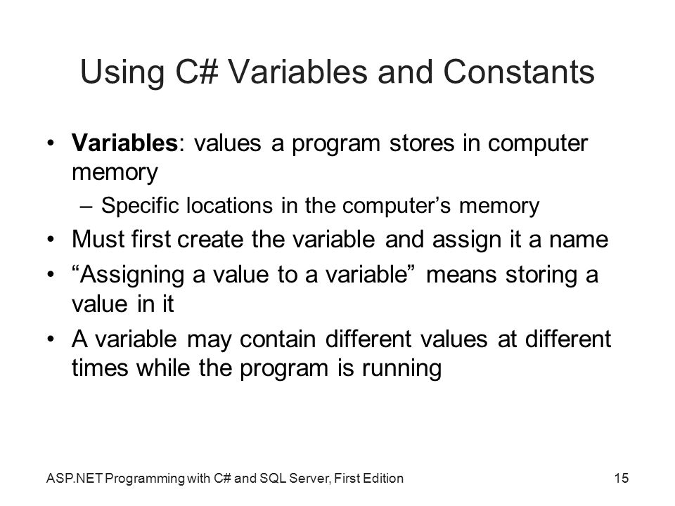 Using C# Variables and Constants