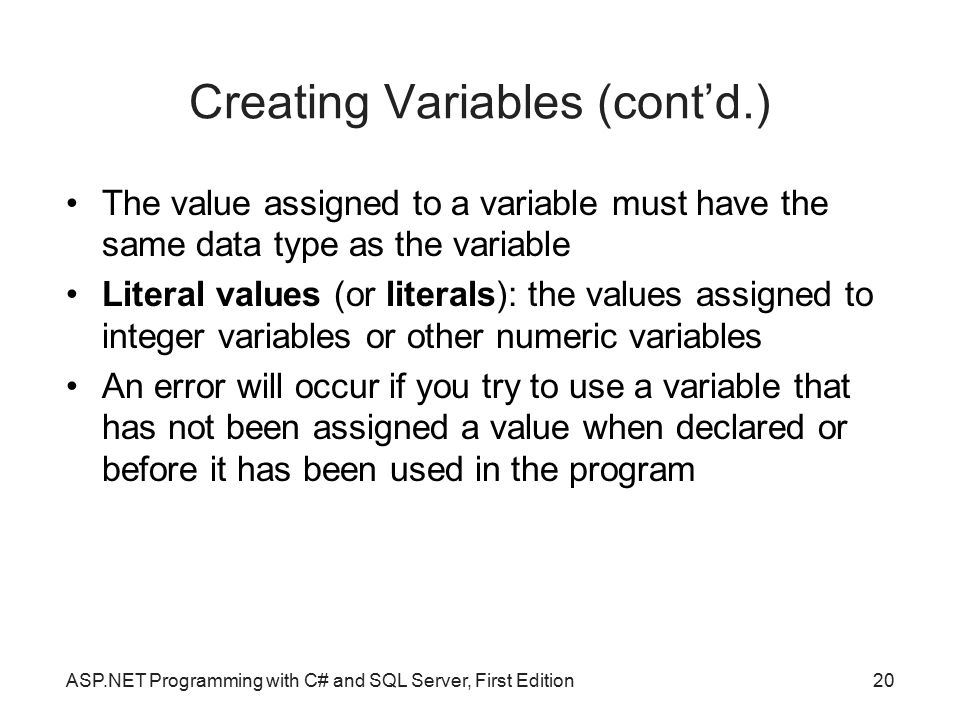 Creating Variables (cont'd.)