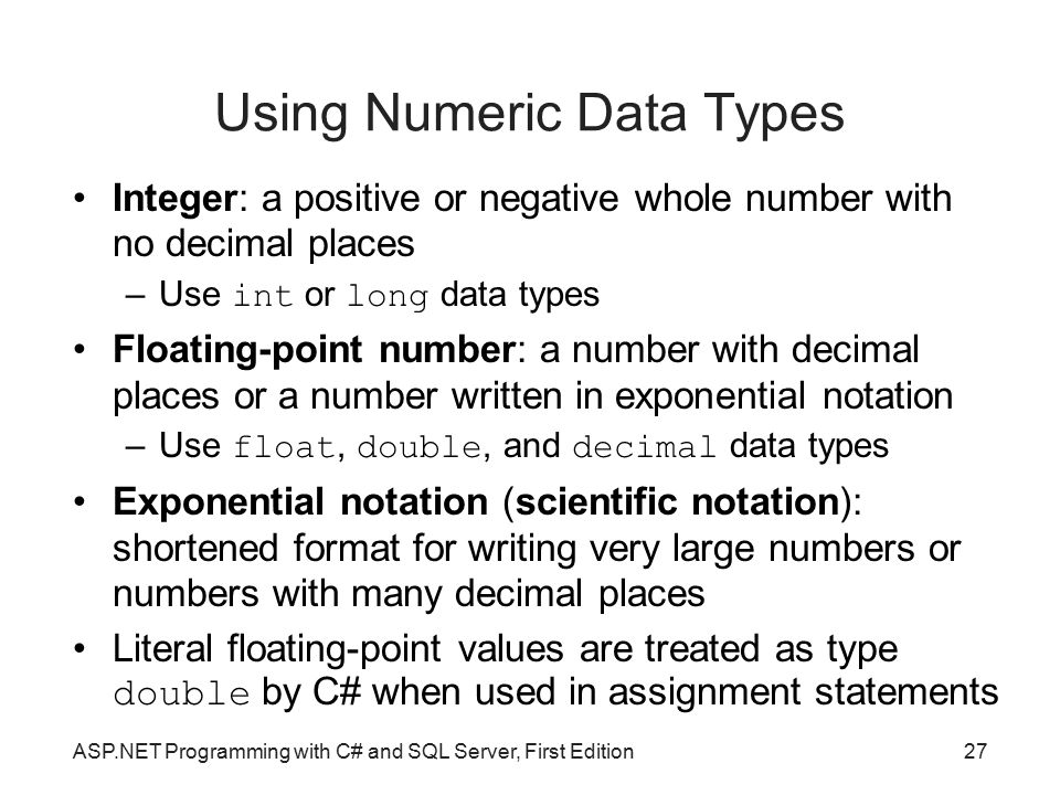 Using Numeric Data Types
