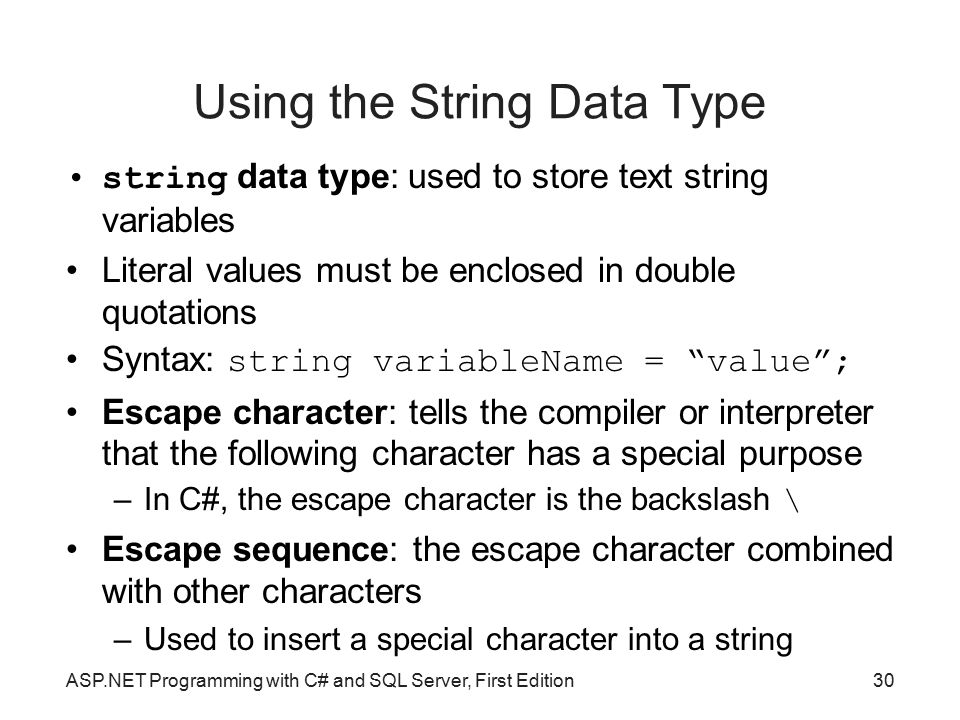 Using the String Data Type