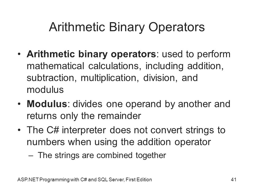 Arithmetic Binary Operators