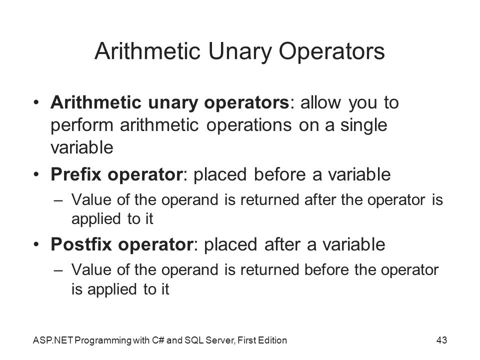 Arithmetic Unary Operators