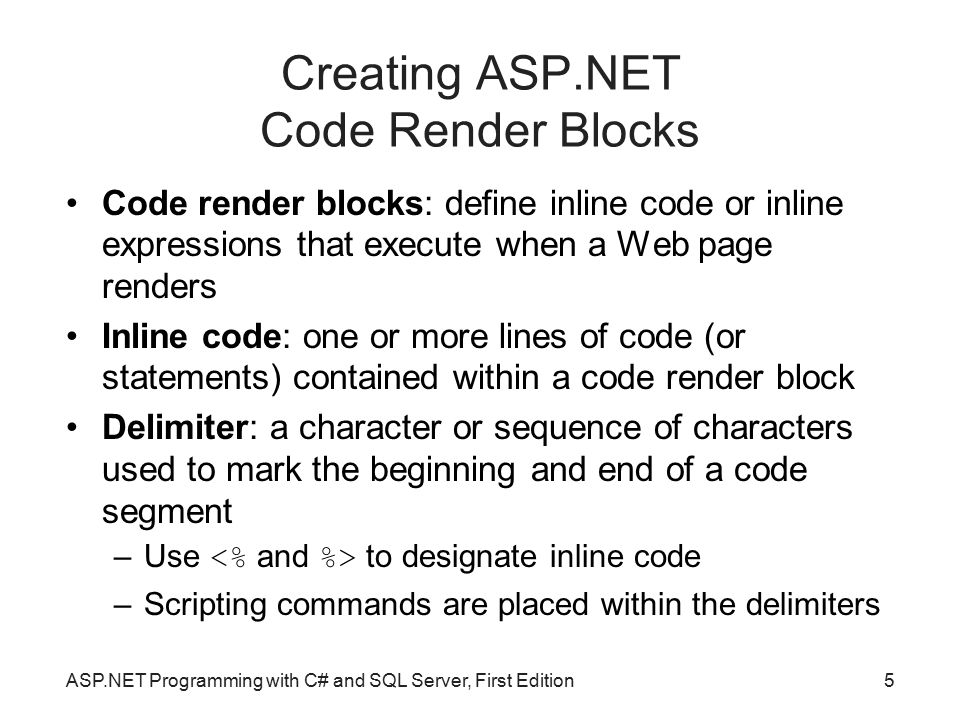 Creating ASP.NET Code Render Blocks