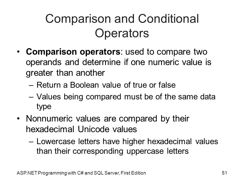 Comparison and Conditional Operators