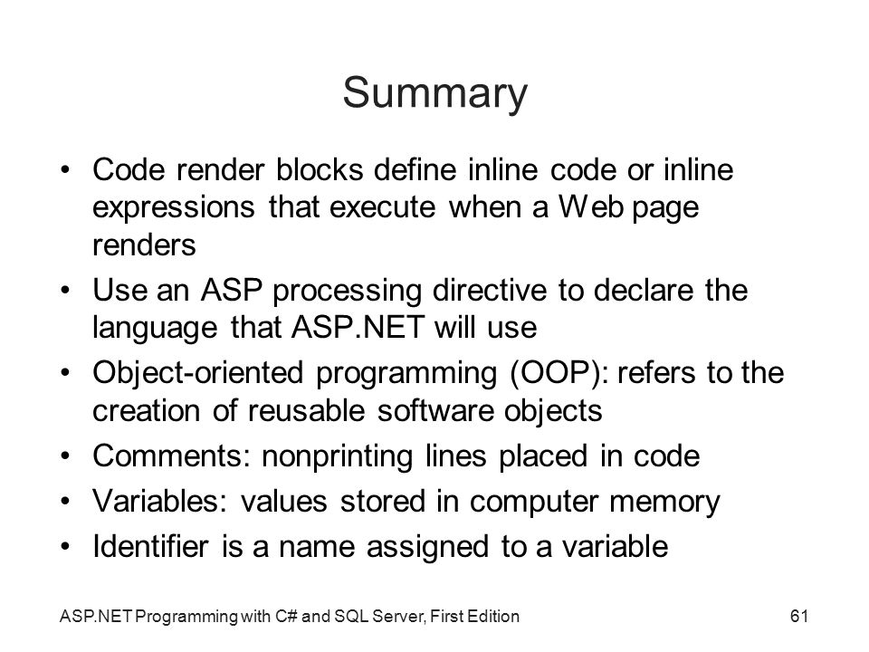 Summary Code render blocks define inline code or inline expressions that execute when a Web page renders.