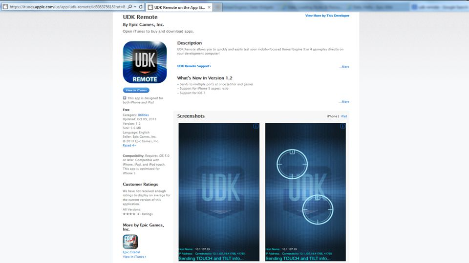 You can get the UDK Remote app for iOS on the Apple App Store.