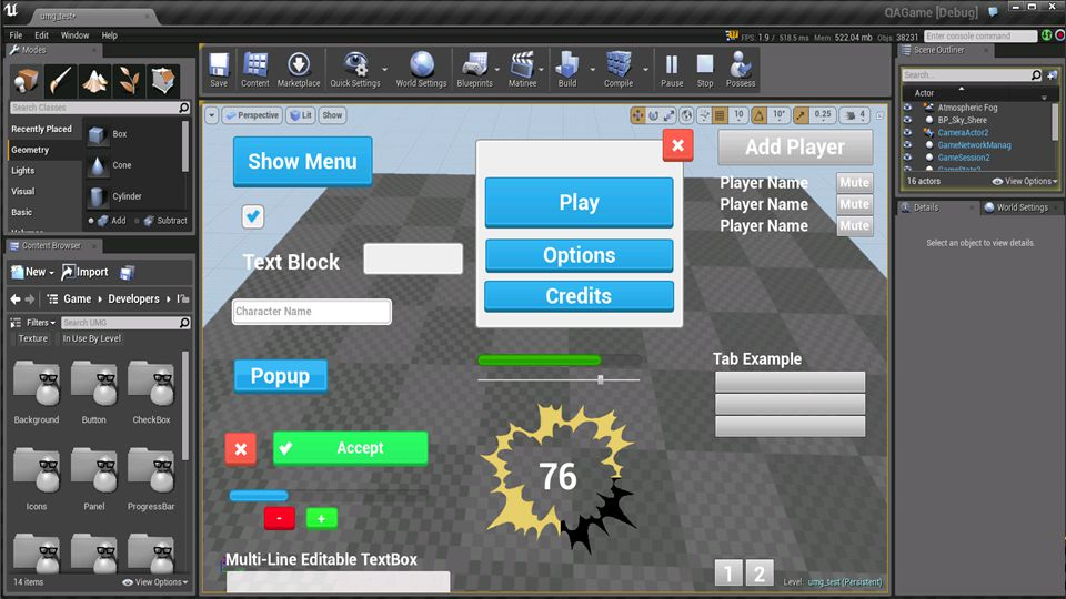 You can preview your user interface within your game at any time in the Level Editor.