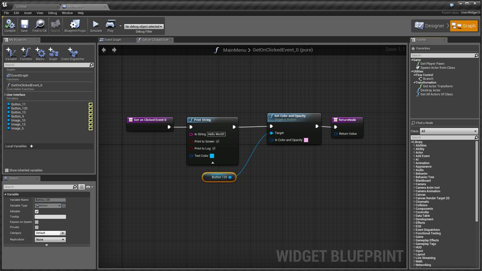 Here is an example of a simple Blueprint graph that is bound to the Click event of a button.