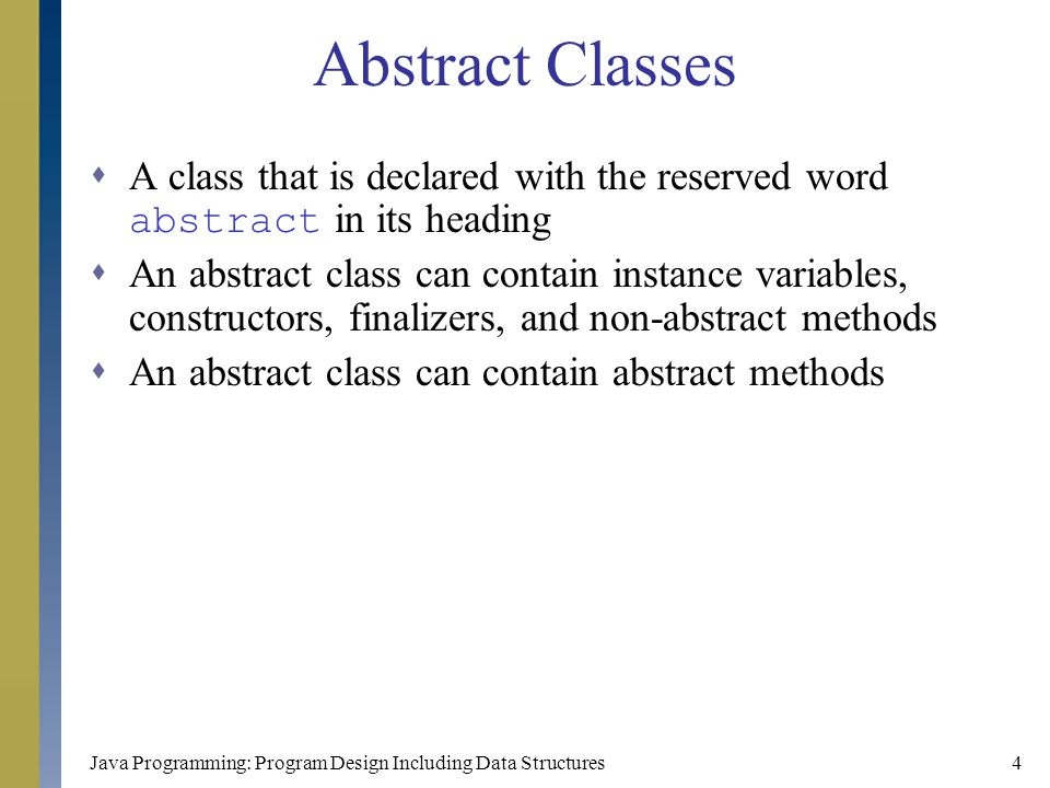 Uml class diagram class rectangle ppt video online download abstract classes a class that is declared with the reserved word abstract in its heading ccuart Images