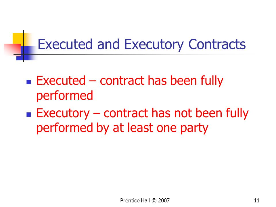 Executed and Executory Contracts