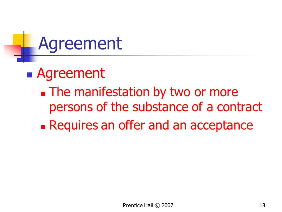 Agreement Agreement. The manifestation by two or more persons of the substance of a contract. Requires an offer and an acceptance.