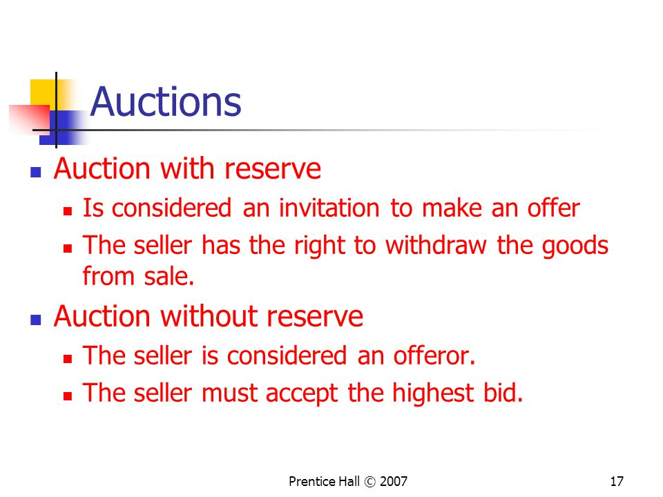 Auctions Auction with reserve Auction without reserve