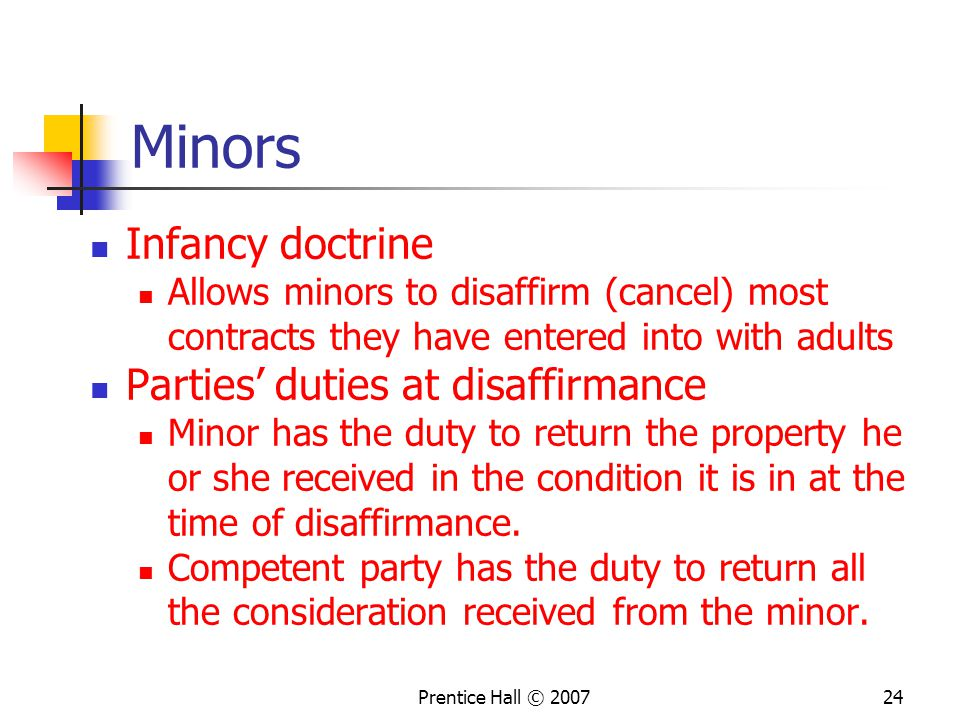 Minors Infancy doctrine Parties' duties at disaffirmance