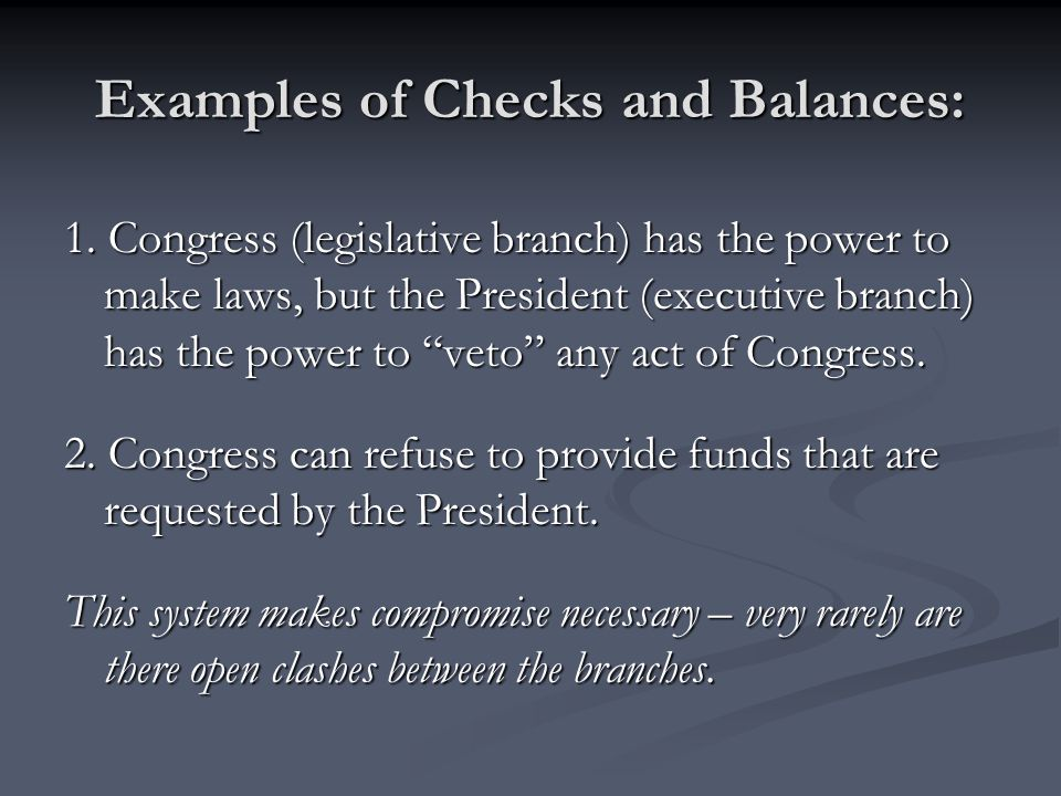Examples of Checks and Balances: