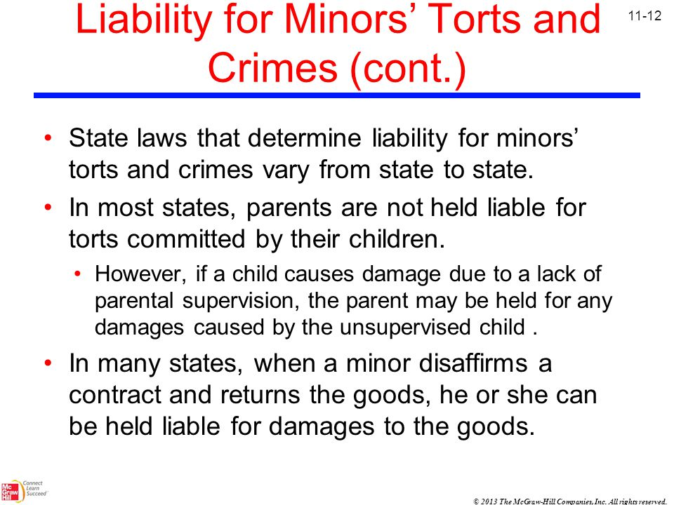 Liability for Minors' Torts and Crimes (cont.)