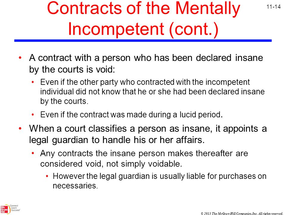 Contracts of the Mentally Incompetent (cont.)