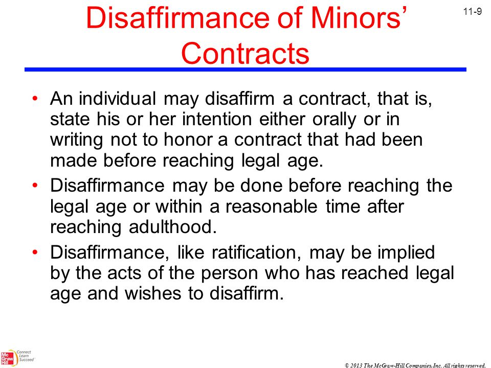 Disaffirmance of Minors' Contracts