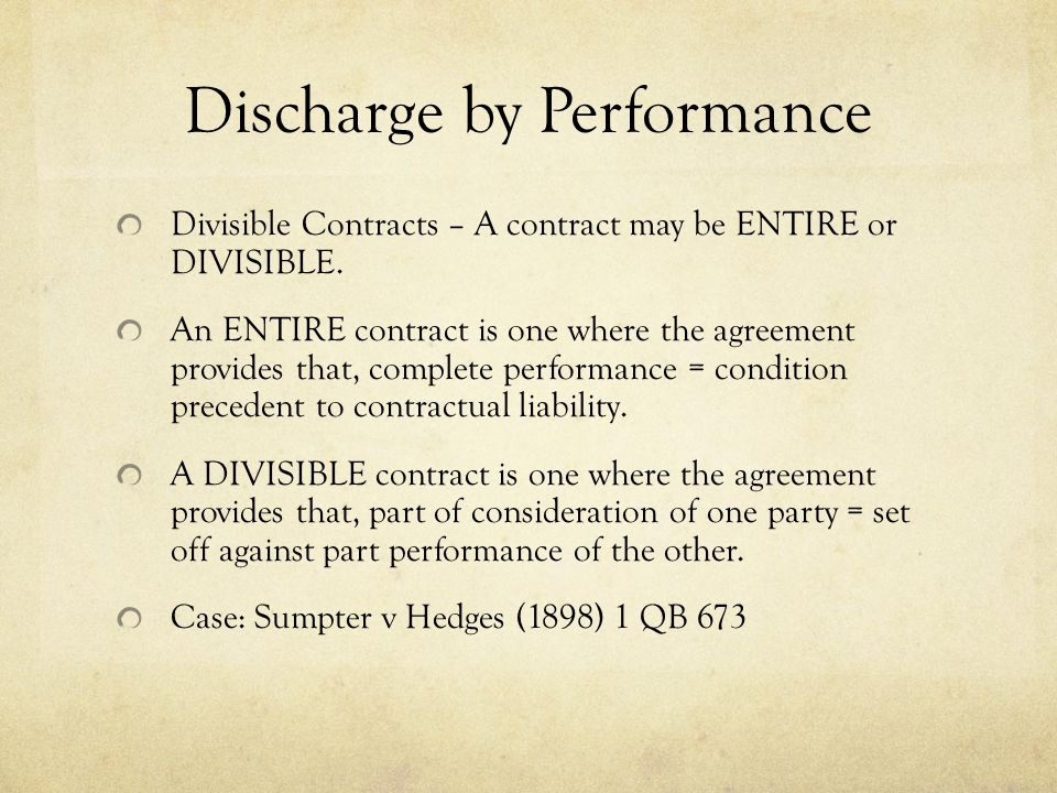 part performance of contract