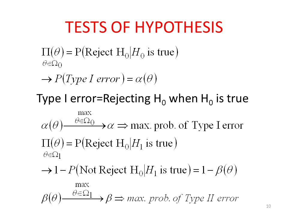 TESTS OF HYPOTHESIS Type I error=Rejecting H0 when H0 is true