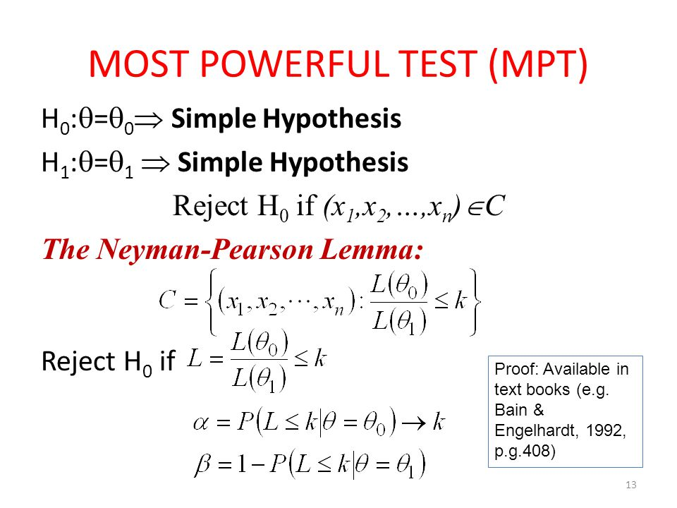 MOST POWERFUL TEST (MPT)