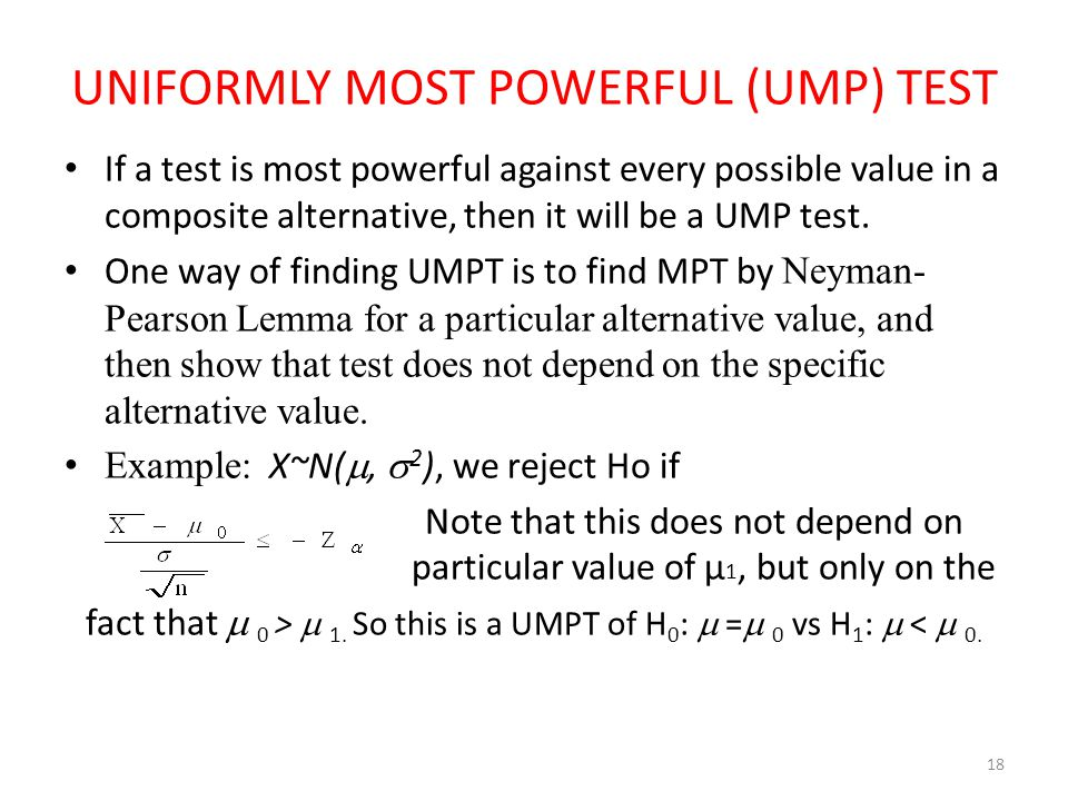 UNIFORMLY MOST POWERFUL (UMP) TEST