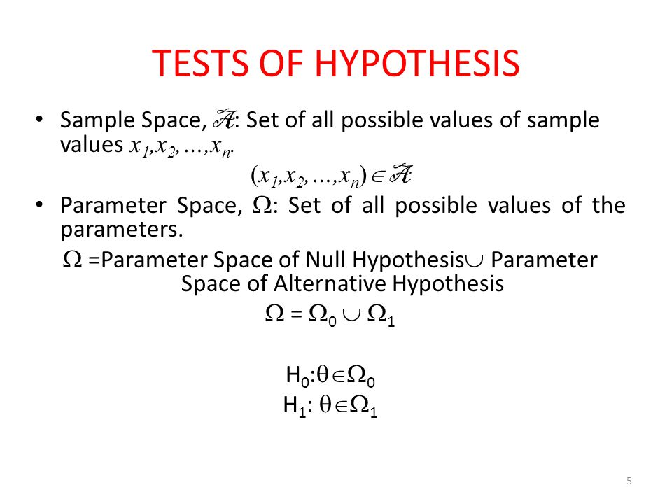 TESTS OF HYPOTHESIS Sample Space, A: Set of all possible values of sample values x1,x2,…,xn. (x1,x2,…,xn) A.