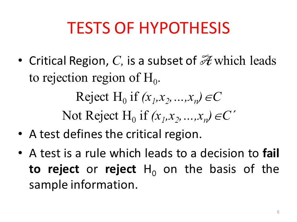 Not Reject H0 if (x1,x2,…,xn)C΄