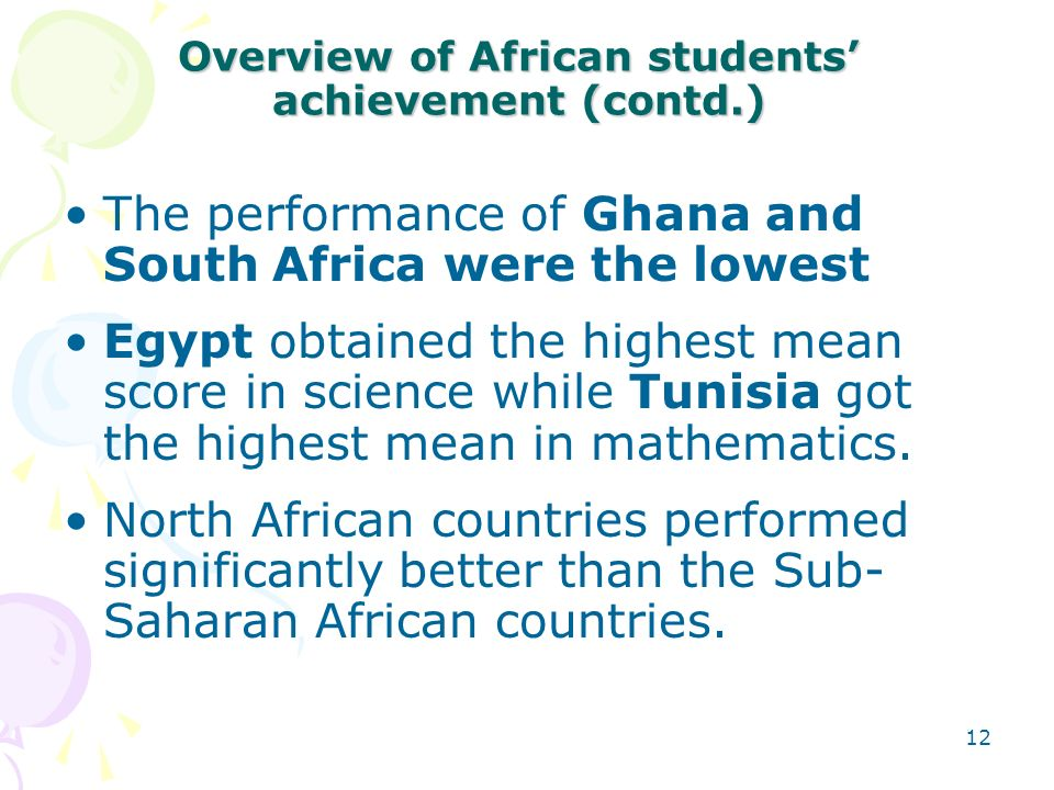 Overview of African students' achievement (contd.)