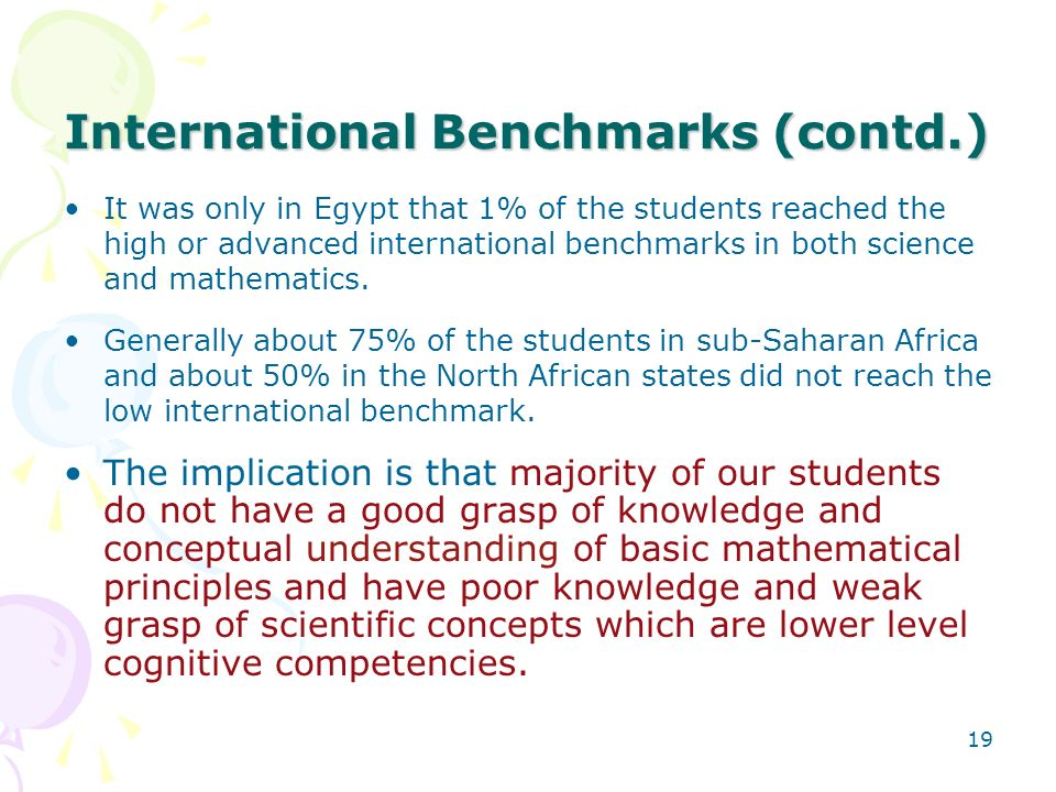 International Benchmarks (contd.)