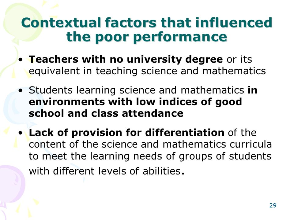 Contextual factors that influenced the poor performance