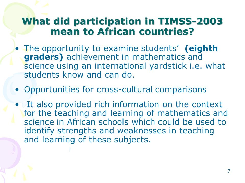 What did participation in TIMSS-2003 mean to African countries