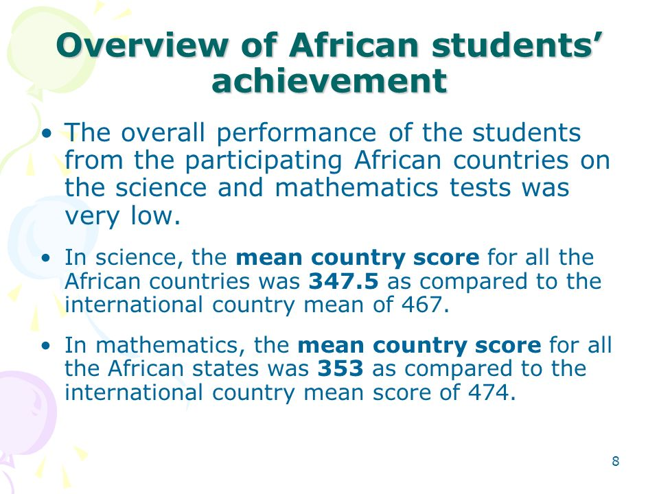 Overview of African students' achievement