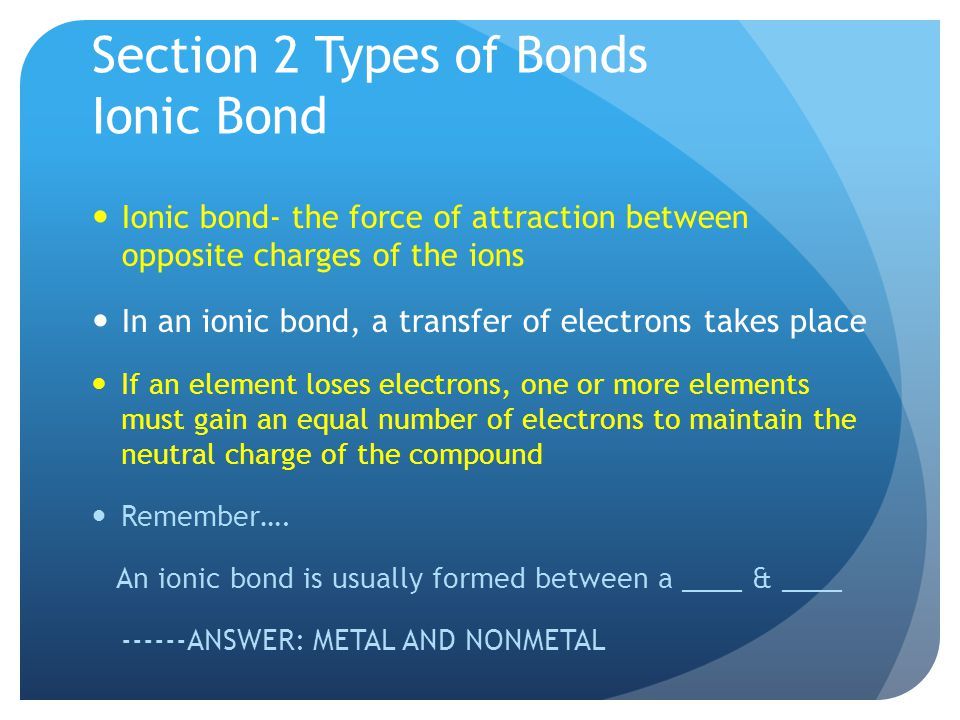 Section 2 Types of Bonds Ionic Bond